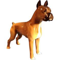 Vintage Germany Porcelain Boxer Dog Hutschenreuther Figurine.