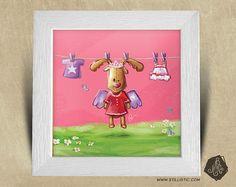 Cadre carré 25x25 cadeau Noël avec Illustration Petit renne et