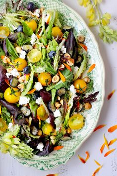 Fresh Herb and Edible Flower Salad with Hibiscus Champagne Vinaigrette