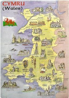 Wales Nice map Postcard of Cymru (Wales) showing Welsh castles, cathedrals and landmarks. Thanks to Phillippa of Wales. Wales has about 400 castles ~ there are more castles per head than any other country in the world ~ England Ireland, England And Scotland, Cardiff, London Eye, Map Of Great Britain, Britain Map, Welsh Castles, Castles In Wales, United Kingdom Map