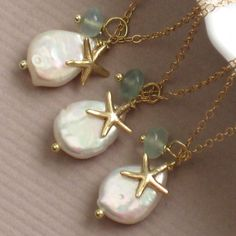Bridesmaid Jewelry Gift Set - 3 Beach Necklaces - White Coin Pearl, Chalcedony drop and Starfish Charm in 14k Gold fill. $108.00, via Etsy.