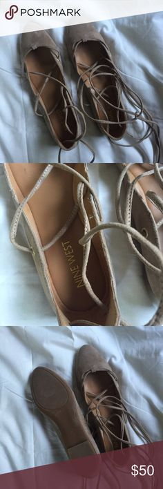 Nine West lace up flats Lace up. Flats. Tan. Worn like twice. Good condition. Super cute and comfy. Nine West Shoes Flats & Loafers