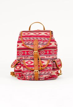 tribal print, backpack, red, camel, accessories