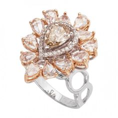 White and Rose Gold with Diamond Designer Jewelry Ring (from <a…