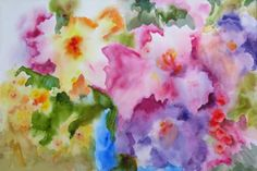 Original watercolor painting abstract flowers JOY by PatChoffrut, $350.00