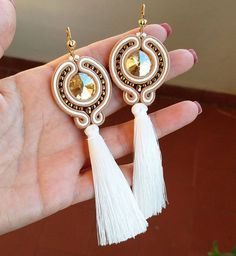 earrings handmade, with soutache, Czech beads , crystal and a long tassel. Tassel Jewelry, Soutache Jewelry, Diy Jewelry, Beaded Jewelry, Jewelery, Jewelry Accessories, Beaded Necklace, Jewelry Design, Jewelry Making