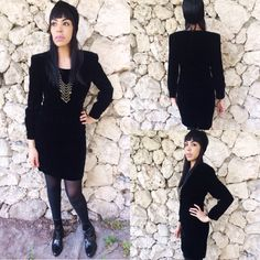 Vintage 80s Does 50s Black Crushed Velvet Long Sleeve Wiggle Dress S6 $52.00 https://www.etsy.com/listing/219433710/vintage-80s-does-50s-black-crushed