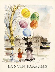 Parfums Lanvin - 1949 - Illustration de Guillaume Gillet Quai de Paris pour Prétexte, Arpège, Rumeur.......