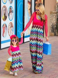 76f18e492ded3 Mom and Me Paneled Waves Print Long sleeve Dress. Baby ModelsKids SwimwearMommy  ...