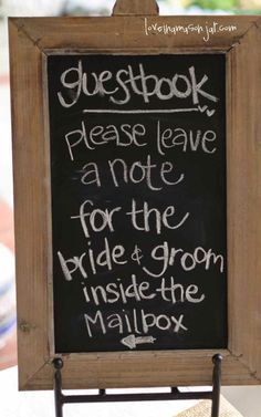 Put the mailbox and this sign next to the calendar I'm using as a guest book!! Have a collage or mural made from the notes! Love this idea! #wedding