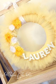 Tutu wreath with customized name