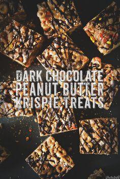 Dark Chocolate Peanut Butter Krispie Treats    PasstheSushi.com