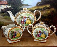 sadler teapot 3pcs tea set courting couples barrel shape Fragonard  pat No 1876 VGC