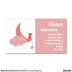 Nanny or babysitter square business card calling card mommy babysitting business card reheart Image collections