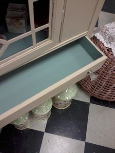 painted hutch with Annie Sloan duck egg blue inside cabinet and drawer