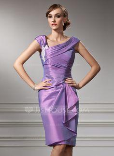 Sheath/Column Off-the-Shoulder Knee-Length Taffeta Mother of the Bride Dress With Appliques Cascading Ruffles (008005949)