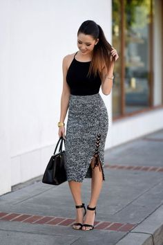 45 Professional Business Attire For Women With Pencil Skirt - business professional outfits for interview Lace Up Skirt, Knit Skirt, Dress Skirt, Office Outfits, Chic Outfits, Casual Office, Office Wear, Office Uniform, Look Fashion