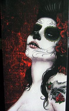 Day of The Dead Canvas Art small set of 3 by ThrashinInd on Etsy, $119.99