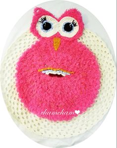 '' Pinky The Friendly Owl ''   100% Organic Wool Handmade Childrens, Kids, Girls Pink Owl Rug / Mat ideal For Playtime, Bedroom Entrance, Toy Room, even Bathroom...Will keep children amused and offer hours of fun and interest