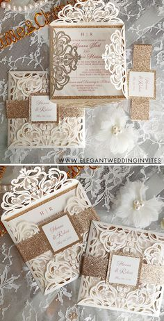 Classic ivory and rose gold wedding invitations
