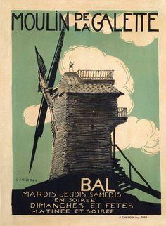 Le Moulin de la Galette Illustration Géo Roux © Collection du Musée de Montmartre