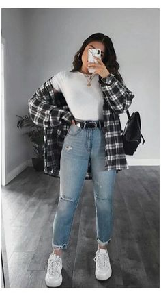Trendy Fall Outfits, Winter Fashion Outfits, Retro Outfits, Cute Casual Outfits, Simple Outfits, Stylish Outfits, Cute Flannel Outfits, Edgy School Outfits, Girly Outfits