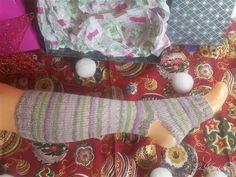 Yoga Socken gestrickt Pilates tanzen bunt lila grau von LiMariann