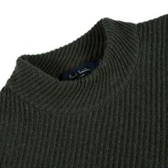 Paul Smith Men's Knitwear | Green Ribbed-Twill Lambswool-Blend Sweater Mens Fashion Sweaters, Knitwear Fashion, Knit Fashion, Men's Knitwear, Boy Fashion, Men Sweater, Thing 1, Knitting Designs, Paul Smith