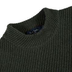 Paul Smith Men's Knitwear | Green Ribbed-Twill Lambswool-Blend Sweater