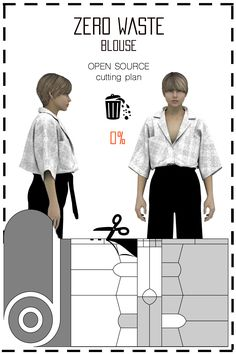 [ FR ] Patronnage zéro déchet conçu pour fabriquer deux chemisiers. Le placement est disponible gratuitement (sous licence creative commons) dans différents formats tels que: jpeg, pdf, svg, & dxf.. [ EN ] This is a Zero waste pattern designed to make two blouses. Cutting plan is available for free (under the creative commons licence) in differents formats such as jpeg, pdf, svg, & dxf..