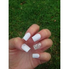 White powder acrylic nails. | Hair,makeup,nails~ | Pinterest |... ❤ liked on Polyvore featuring beauty products, nail care, nail treatments and nails