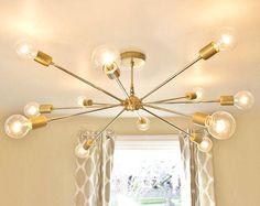 The Shepard Chandelier  Modern Brass Sputnik by SpeakeasyLamps
