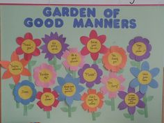Garden of Good Manners Garden Theme Classroom, Kindergarten Classroom Decor, Diy Classroom Decorations, School Decorations, Manners Preschool, Manners Activities, Manners For Kids, Teaching Manners, Good Manners