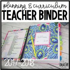 **2017-2018 SCHOOL YEAR LESSON PLANNER NOW AVAILABLE!** Tired of spending big bucks for planners that don't have everything you need but have things you don't? This adorable and fun Teacher Planner / Curriculum Binder is great for getting your