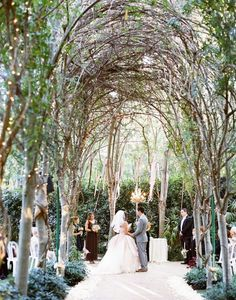 Line the aisle with these twinkle light-wrapped trees.