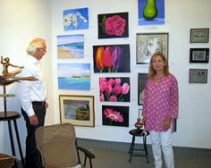 Tom Curran, who is in the auction and antiques business, admires Laura Lasker's work.
