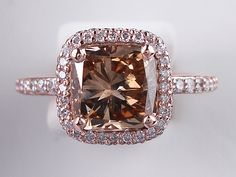 3.08 CTW CUSHION CUT DIAMOND ENGAGEMENT RING NATURAL CHOCOLATE VS2