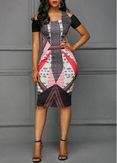 Printed Cutout Back Cold Shoulder Dress on sale only US$29.94 now, buy cheap Printed Cutout Back Cold Shoulder Dress at Rosewe.com