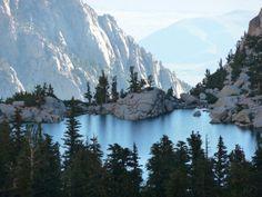 Hiking Mt Whitney , looking down on Lone Pine Lake.