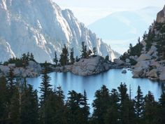 Hiking Mt Whitney , looking down on Lone Pine Lake.