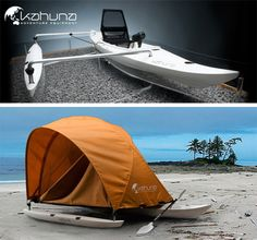 A cool boat which you can camp in the sea or lake! The Kahuna is a new touring boat, inspired by old Polynesian outrigger canoes. This is a totally new way of camping. Cool.