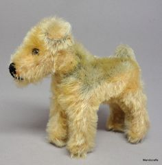 Steiff Terry #Airedale Terrier Dog Mohair Plush 10cm 4in 1950s no ID fading Vtg #Steiff AllOccasion