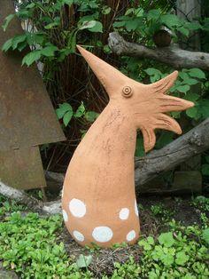 Fantasievogel - Keramik - Handarbeit - unikat - von Rehbella, Keramikkunst auf DaWanda.com