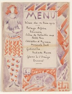 Menu card designed by either Vanessa Bell or Duncan Grant, probably for the dinner held at the Bells' Gordon Square home to celebrate the opening of the Omega Workshops, 1913.