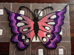 Butterfly pearls hama from Dorte Marker – Perlenbilder – Hama Beads Easy Perler Bead Patterns, Perler Bead Templates, Diy Perler Beads, Pearler Bead Patterns, Perler Bead Art, Modele Pixel Art, Hama Beads Design, Peler Beads, Iron Beads