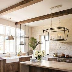 Farmhouse Interior, Modern Farmhouse Kitchens, Home Kitchens, Industrial Farmhouse Kitchen, Modern Farmhouse Lighting, Modern French Kitchen, Modern Farmhouse Design, Kitchen Interior, Kitchen Sink Lighting