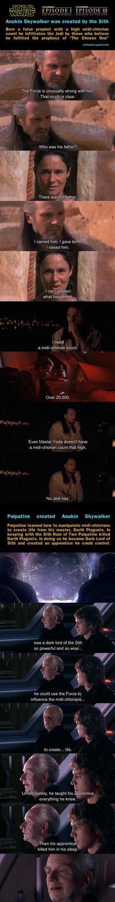 Anakin Skywalker was created by the Sith, A very interesting theory.