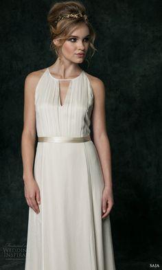 saja bridal 2016 keyhole front sleeveless silk wedding dress t drop back hb6640