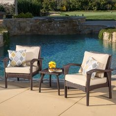 Shop for Honolulu Outdoor 3-piece Wicker Chat Set with Cushions by Christopher Knight Home. Get free delivery at Overstock.com - Your Online Garden