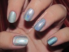 Some silver and one blue with lots of silver comparisons - Thumb to pinky:  Nfu Oh - 61, Color Club - Worth the Risque, Harp On It, Blue Heaven, and Nfu Oh - 65.